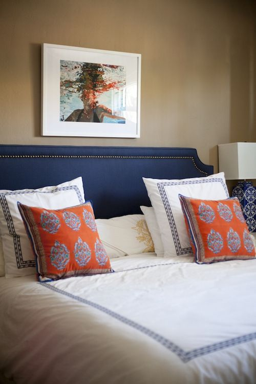 Bedroom navy with a pop of orange bedrooms closets - Orange and blue decor ...