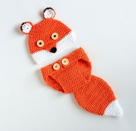 Free Pattern] Cute Fox Baby Hat and Diaper Cover Your Baby Needs ...
