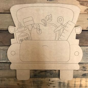 Back To School Truck Cutout Wooden Paintable Paint By