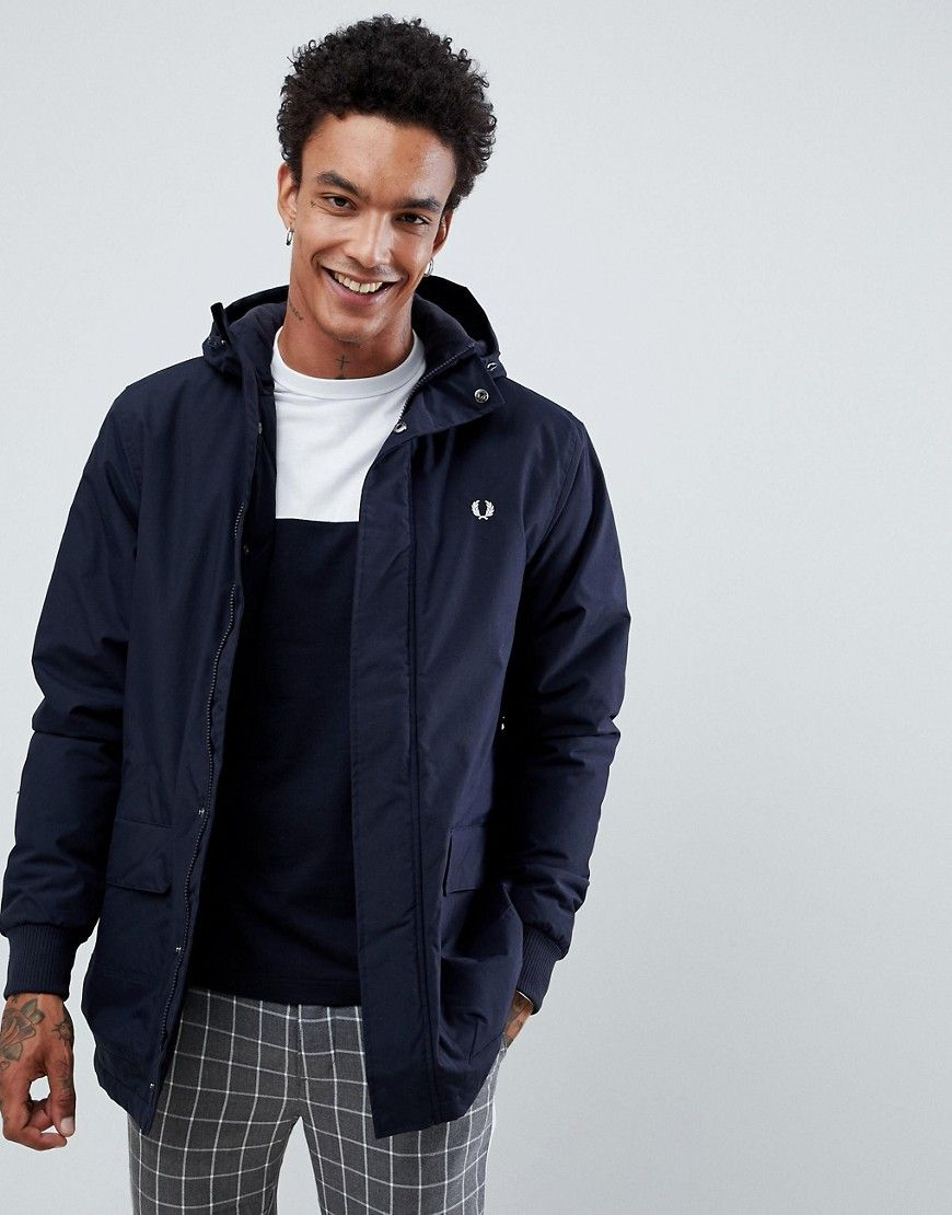 f51a3eeb8c08 FRED PERRY STOCKPORT HOODED PARKA JACKET IN NAVY - NAVY. #fredperry #cloth