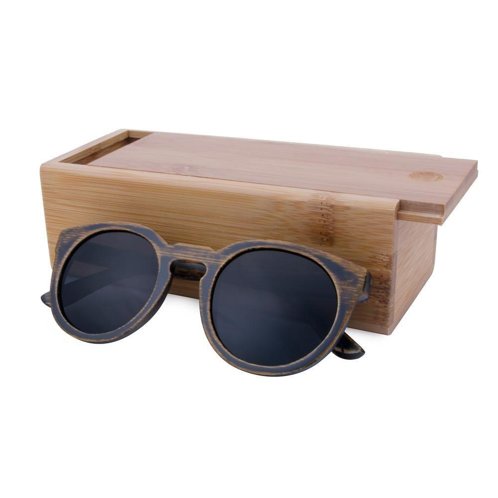 55c41b68399 Round Frame Bamboo Sunglasses Wooden Sunglasses Men or Women in 2019 ...