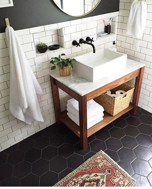 Kind Of Fun Tile For Floor Sleek And Classy With Some Visual Interest Small Bathroom Remodel Bathroom Remodel Master Beautiful Bathroom Vanity