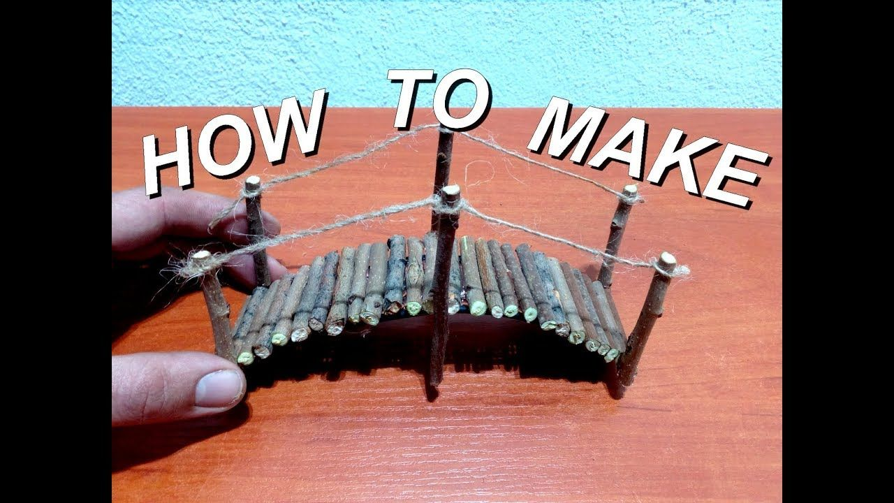 How to make mini wood bridge for fairy gardens Fairy
