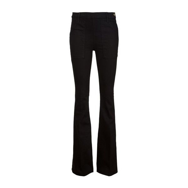 FRAME DENIM 'Le Flare De Francoise' Jeans (1.630 NOK) ❤ liked on Polyvore featuring jeans, pants, calças, bottoms, trousers, black, frame denim, frame denim jeans, flare jeans and flared jeans