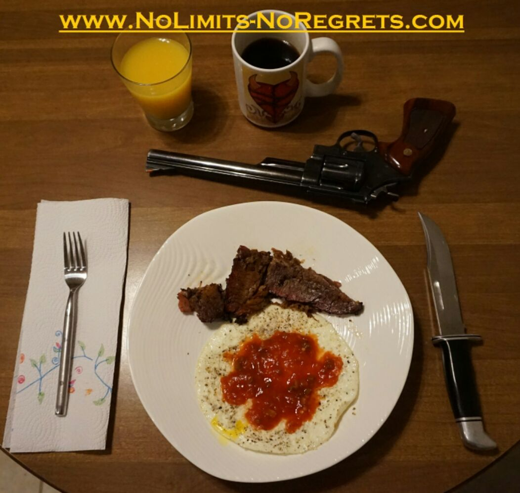#texas #chef breakfast #bbq #brisket eggs non-murdering OJ #coffee #smithandwesson .44 mag #revolver #buck knife #pistol #2a