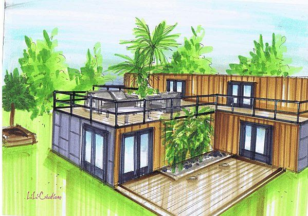 Maison container en 1t plans pinterest maisons for Plan amenagement container habitable