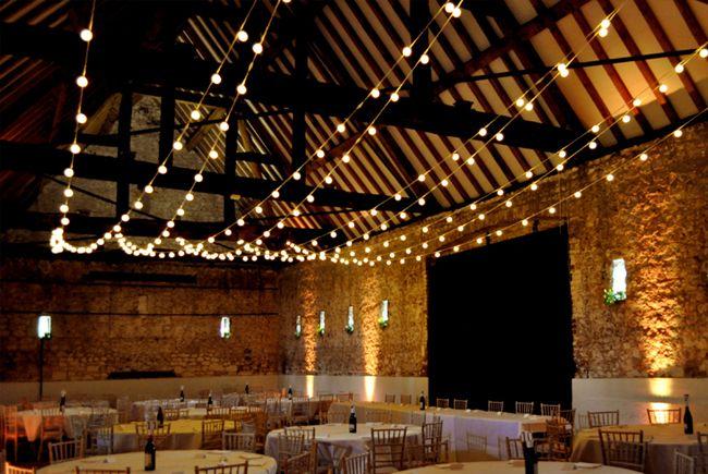 Rustic Wedding Festoon Lights At Monks Barn Berkshire