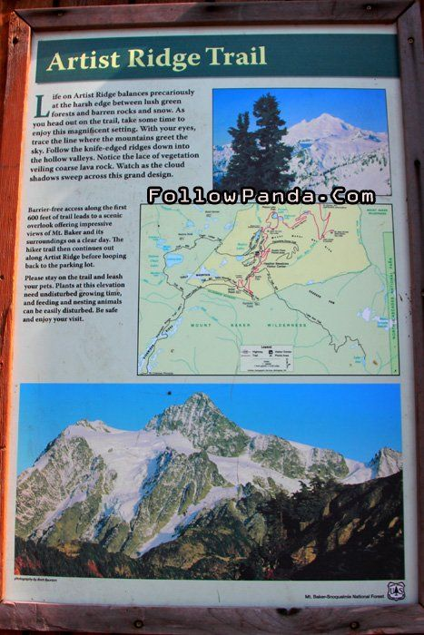 Artist Ridge Trail Info Sign - Mt. Baker-Snoqualmie National Forest ...