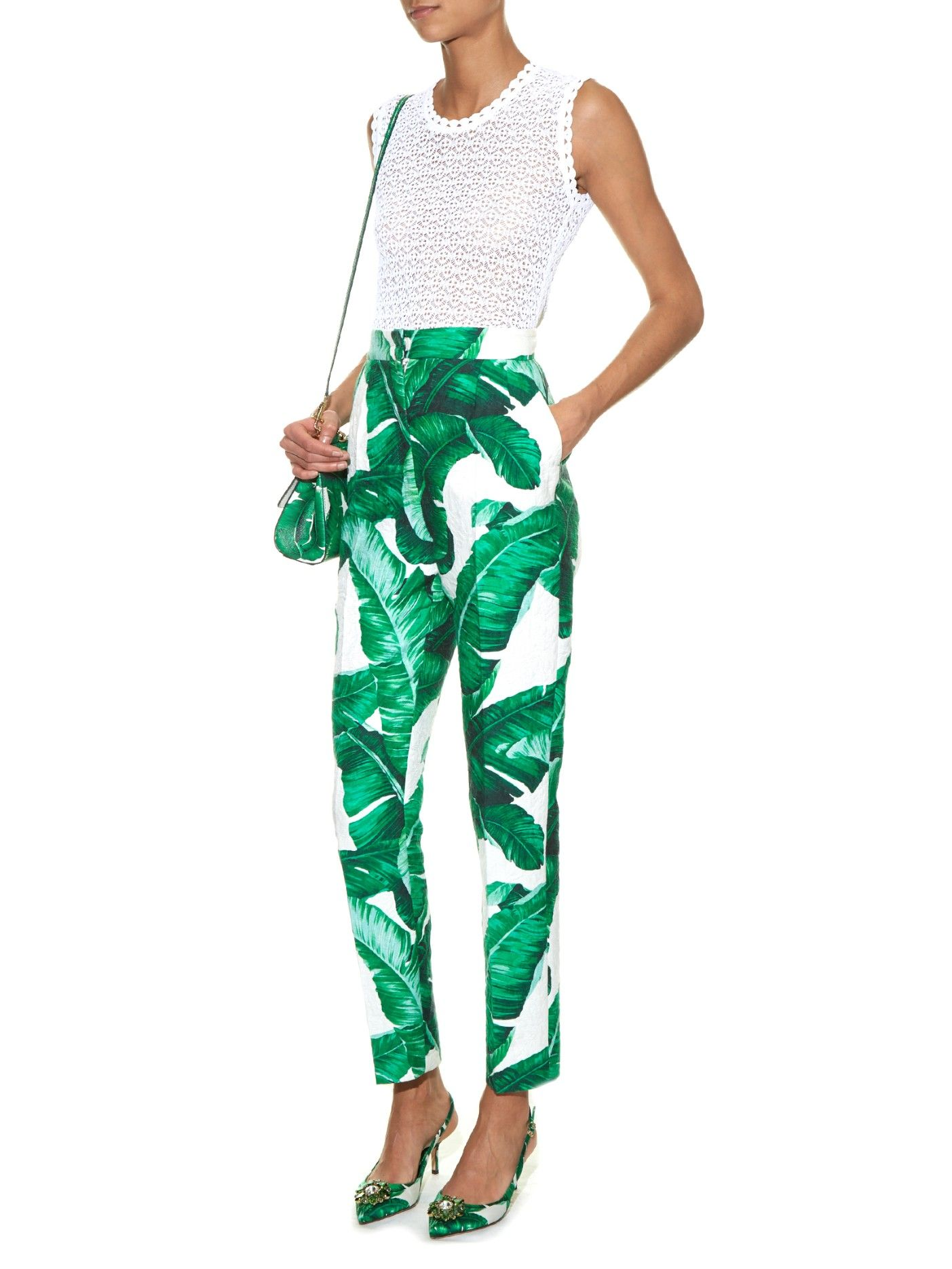 f9b6cb74ec2 Banana leaf-print high-rise trousers