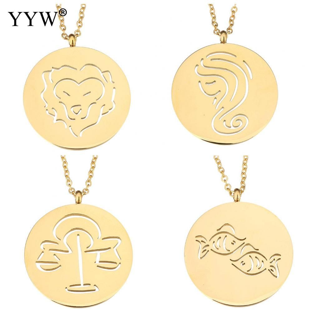 Yyw constellation design goldcolor stainless steel jewelry pendant