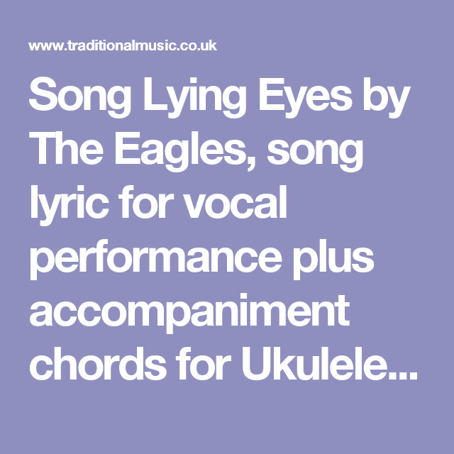 Song Lying Eyes By The Eagles Song Lyric For Vocal Performance Plus