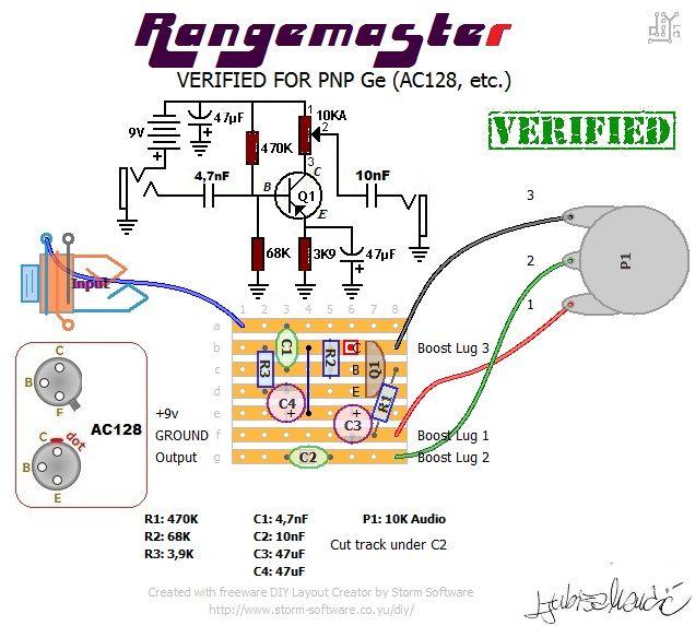 DALLAS RANGEMASTER VERIFIED | Diy guitar pedal, Dallas ... on vintage hofner guitar schematic, bk drive pedal schematic, treble booster schematic, klon centaur schematic, dyson schematic,