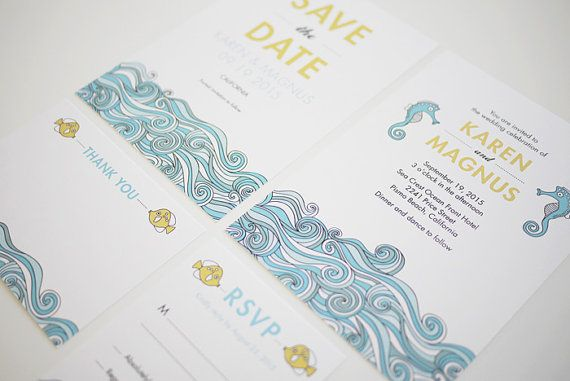Printable Beach Wedding Invitations: Blue Beach Wedding Invitation Set Of 4 Printable By
