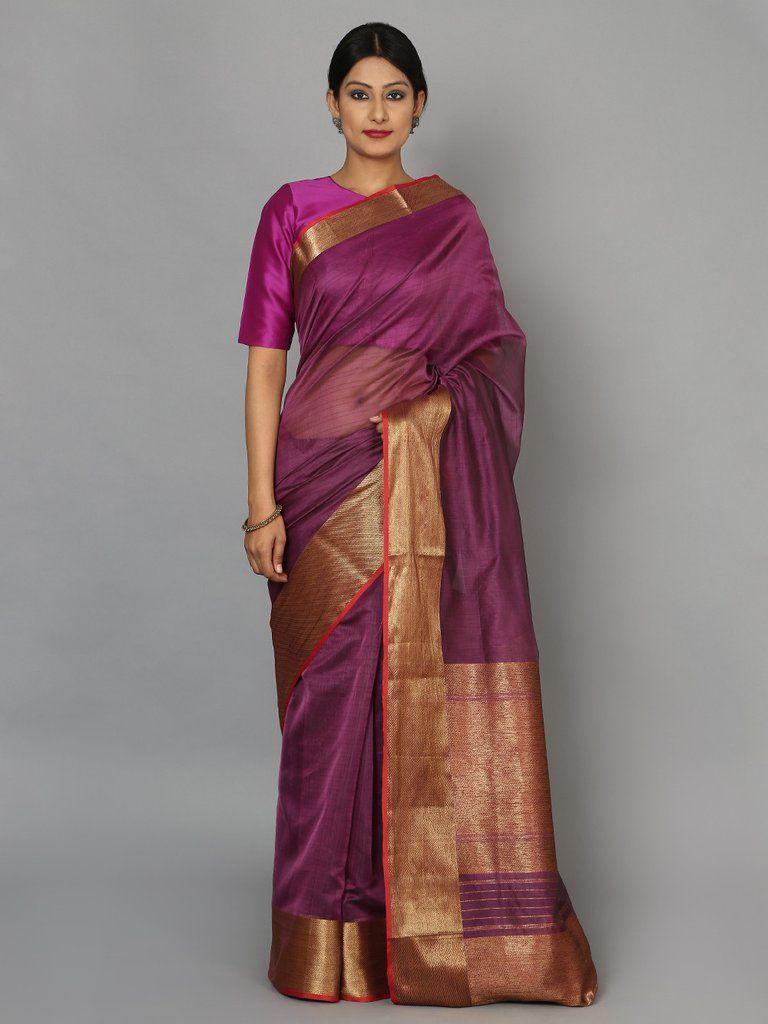 25e4bb4361 Purple Hand Woven Banarasi Cotton Silk Saree | dolls | Pinterest ...