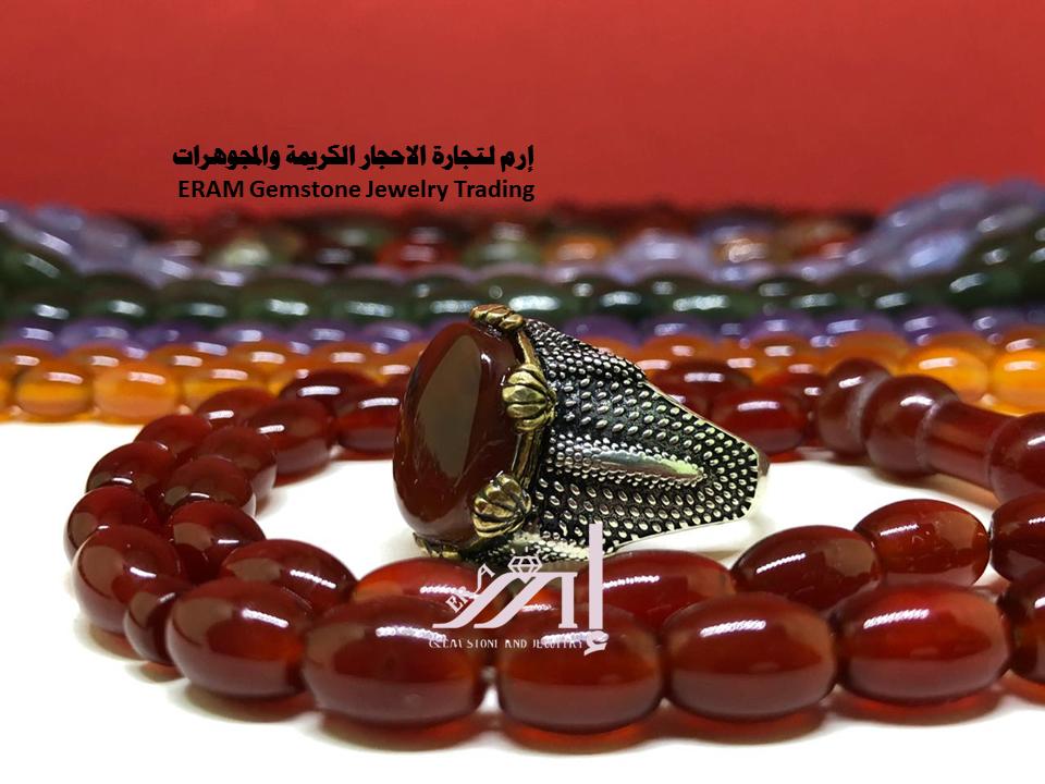 طقم عقيق احمر كبدي دم الغزال خاتم مع السبحة مميز درجة اولى طبيعي 100 Agate Gemstone Jewelry Gemstones Beaded Bracelets