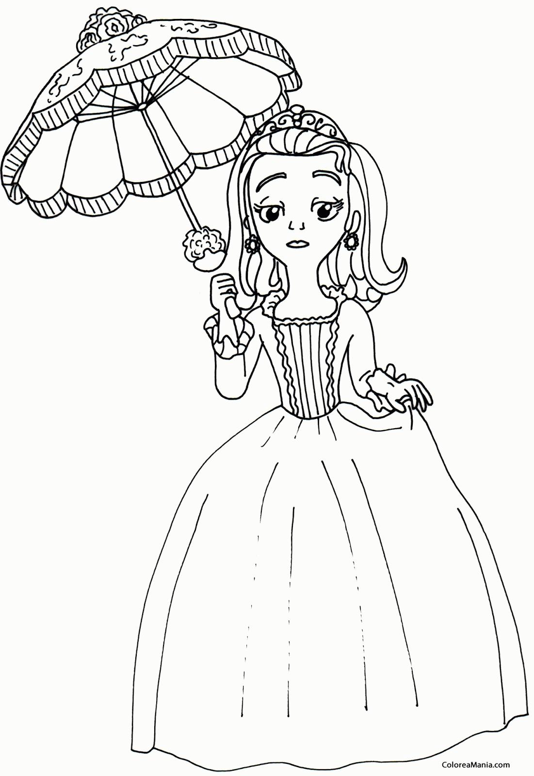 Colorear Princesa Amber con su paraguas (La Princesa Sofa ...   Para ...