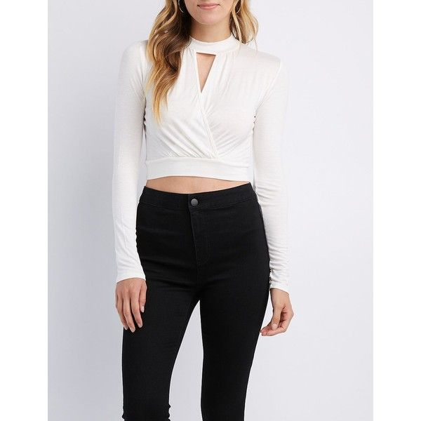bf6ed2a11e6 Charlotte Russe Choker Neck Surplice Crop Top ($10) ❤ liked on Polyvore  featuring tops, white, cross front crop top, long sleeve crop top, charlotte  russe ...