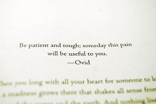 """Be patient and tough..."" - Ovid"