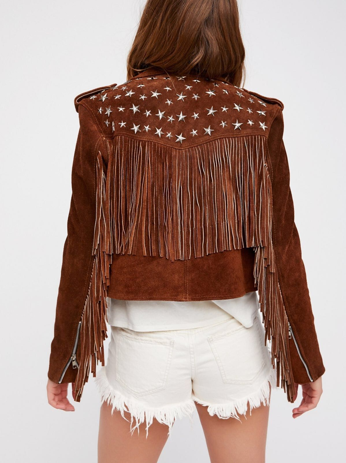2eaffab55 Understated Leather Paris Texas Crop Fringe Jacket in Saddle at Free ...