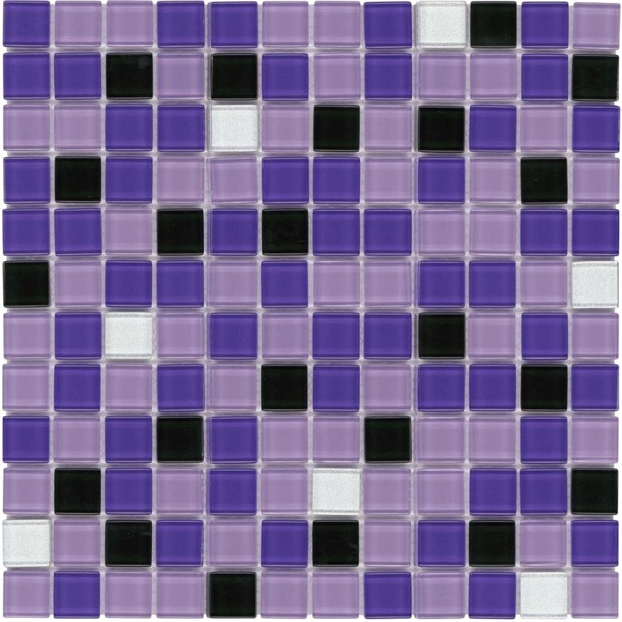 glass mosaic tile backsplash purple blend 1x1 | kitchens and house