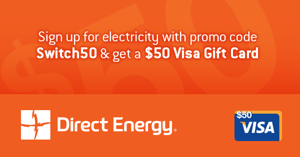 Want A 50 Visa Gift Card Easy Switch To Direct Energy And Get A 50 Visa Gift Card When You Sign Up Using Promo Code S Visa Gift Card Promo Codes Gift Card