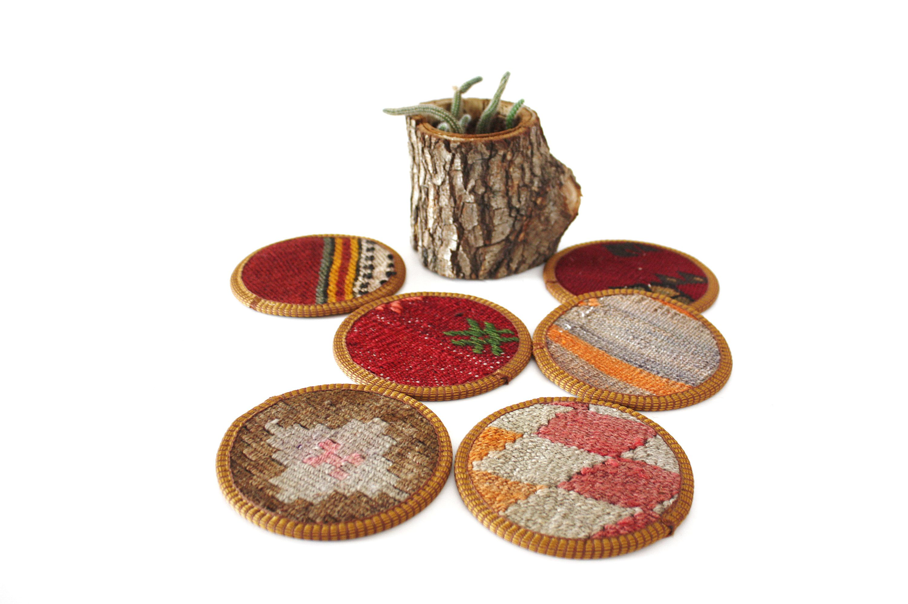 kilim coasters, cup coaster, coffee coasters, beer coasters, drink coaster, tea mug coaster, rug coaster, home decor, coaster, Set (6 pcs)