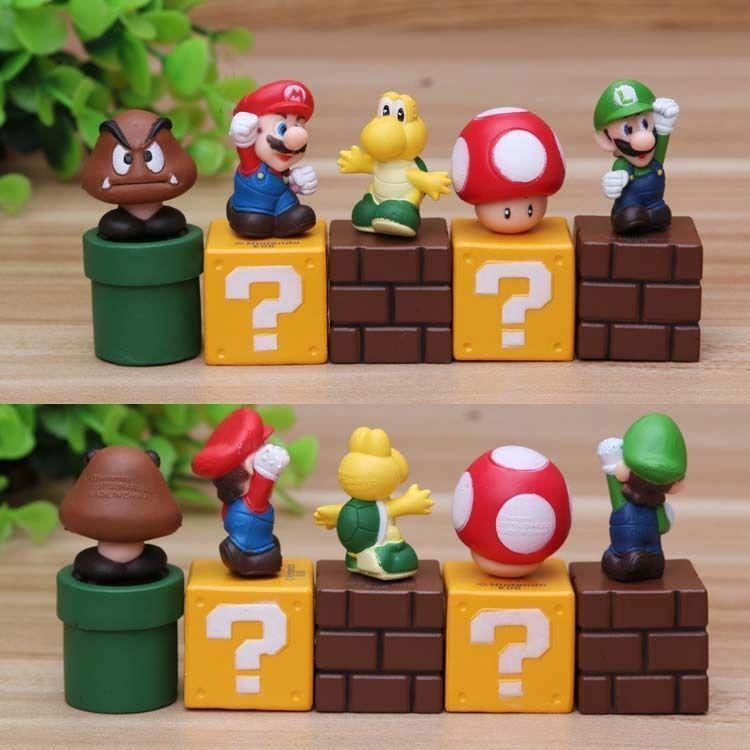 5pcs set Super Mario Bros Action Figure Mini Figurines Cake topper doll Toy Gift