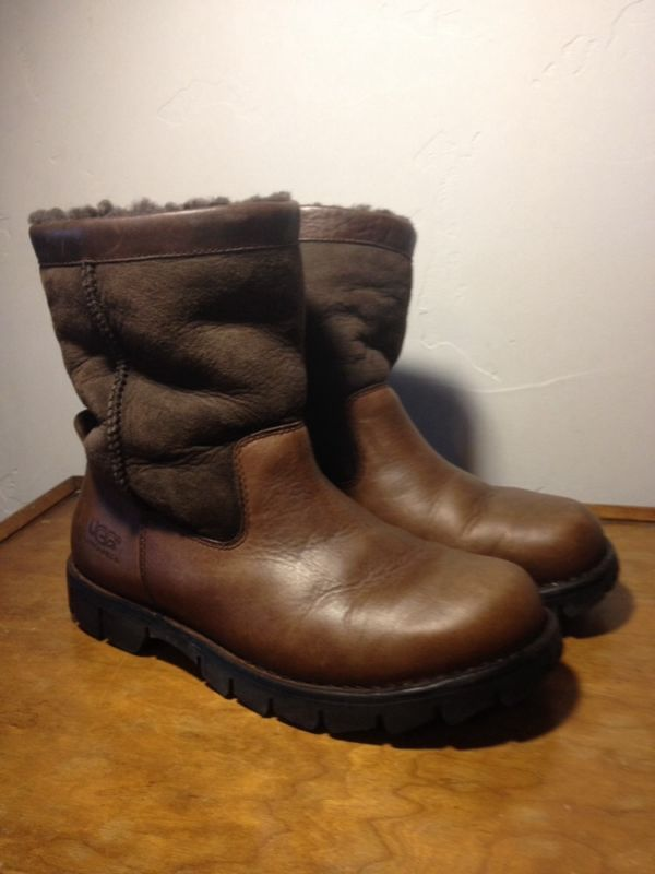 8d06d17fe22 Mens UGG Australia Beacon #5485 Brown Leather/Sheepskin Boots US ...