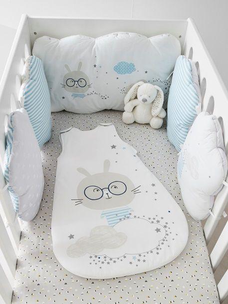 Protector de cuna modular Nube de sueño - Blanco/Azul - 1 | bebé ...