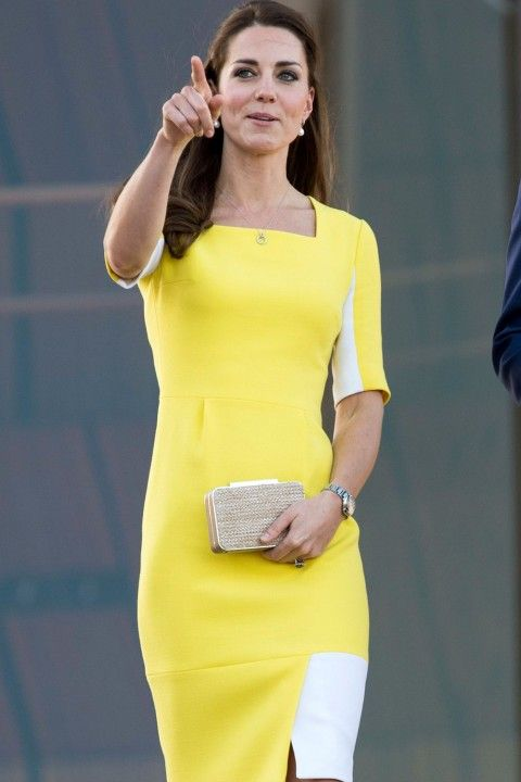 Kate Middleton in yellow dress. See more at http://www.fashion-district.org/2014/kate-middleton-prince-william-say-their-goodbyes-to-australia/