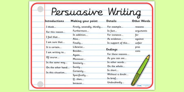 Persuasive essay helper words and phrases for letter