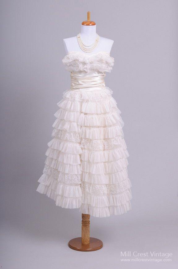 1950 Tiered Tea Length Vintage Wedding Dress
