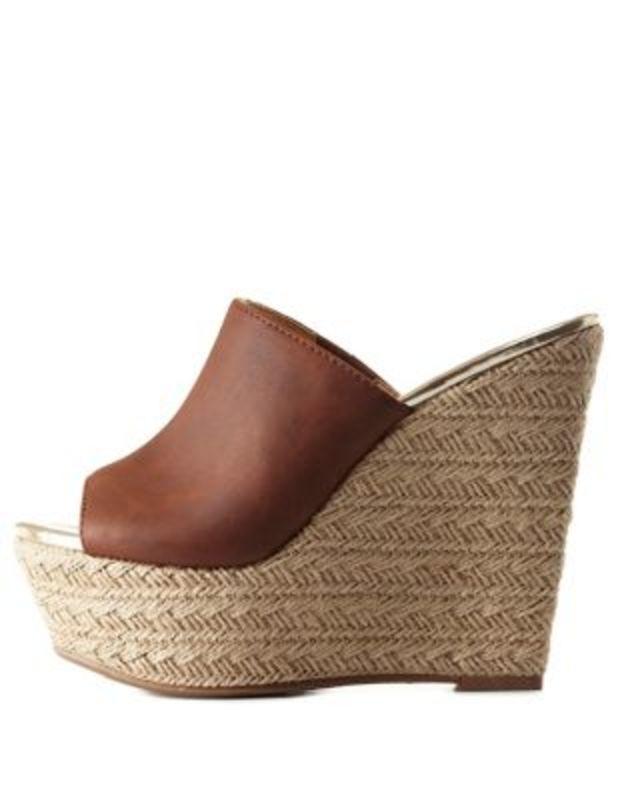 5f4e6efc4 Cognac Open Toe Platform Wedge Mules by Charlotte Russe Calços De Plataforma,  Calçados Novos,