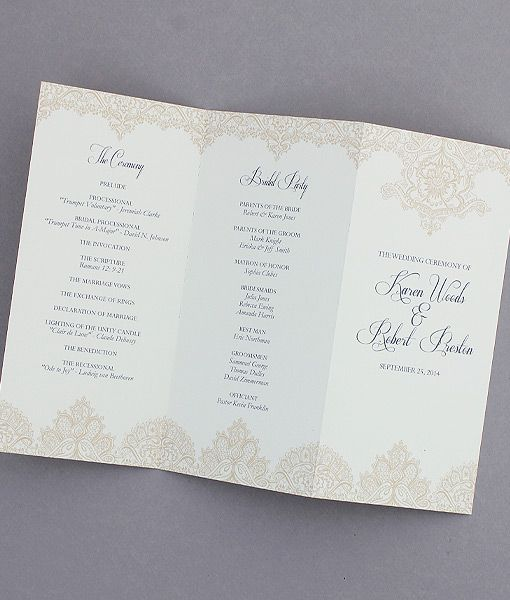 pearls and lace trifold wedding program an elegant affaire