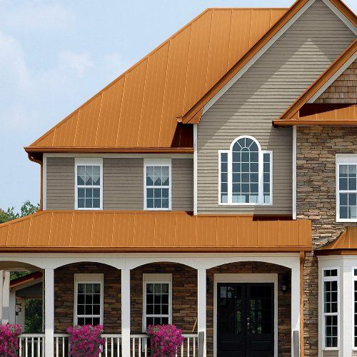 View Metal Roof Colors Copper Roof House Metal Roof Colors Residential Steel Roofing