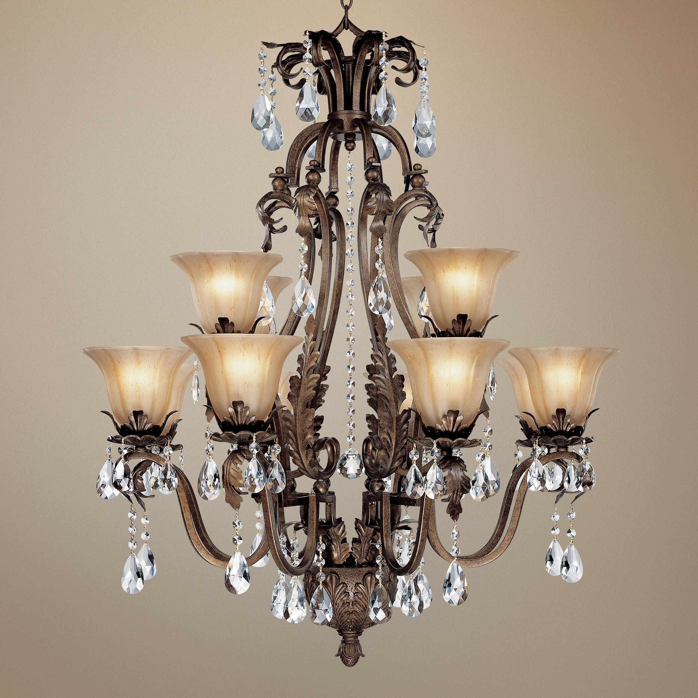 """Iron Leaf 34"""" Wide Bronze And Crystal 12-Light Chandelier - #44422"""