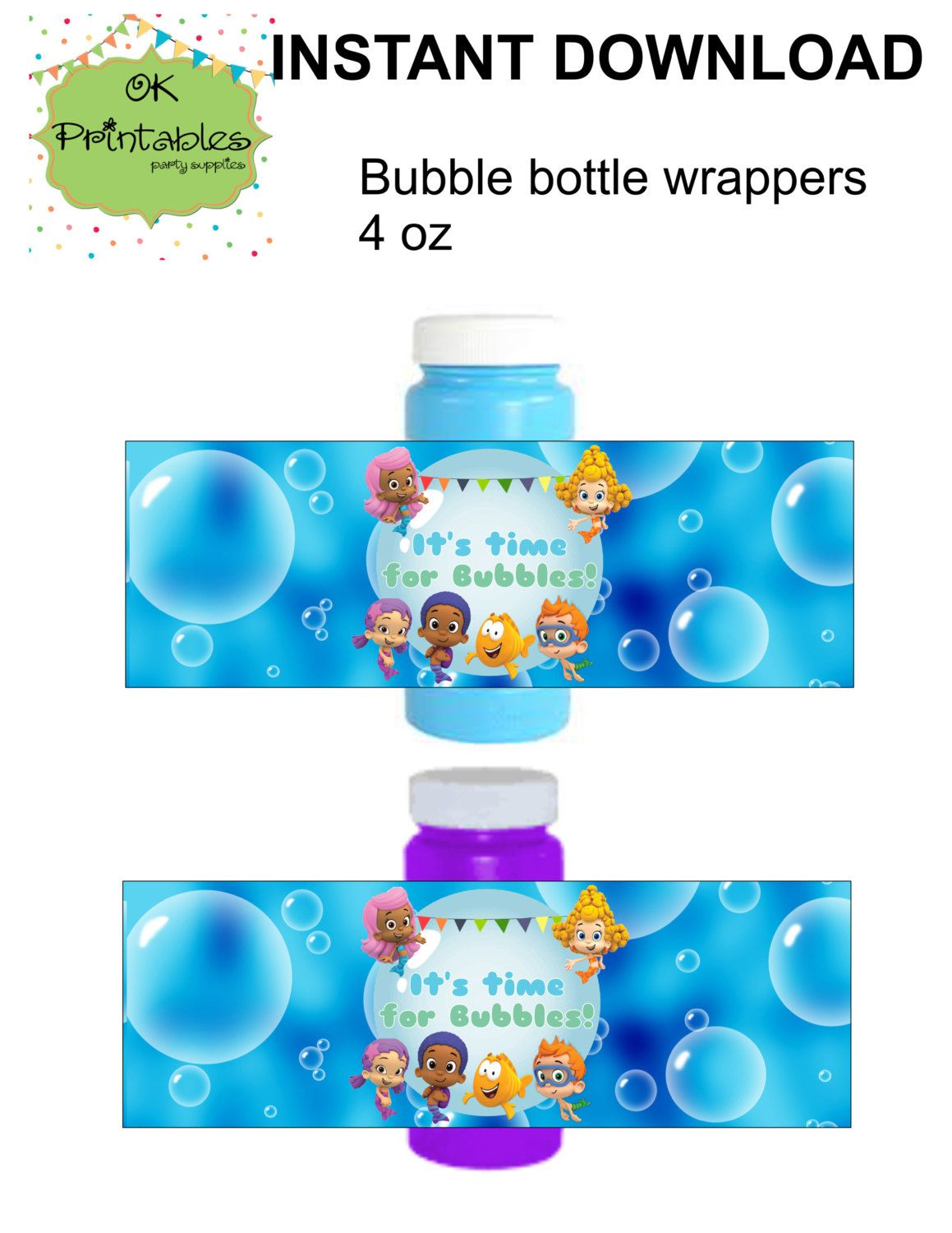 Bubble guppies Bubble bottle label- Instant Download - Guppies Party Label - Party Favor - Birthday Bubbles! by OKprintables on Etsy
