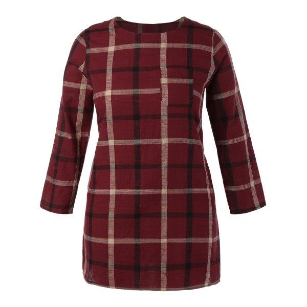 15$  Watch here - http://diu5u.justgood.pw/go.php?t=204037104 - Plus Size Plaid Mini Shift Dress