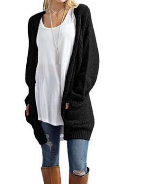 Fashion Knit Cardigan Coat,Casual Plus Size Sweater Jacket Autumn Solid Loose Pockets Outwear