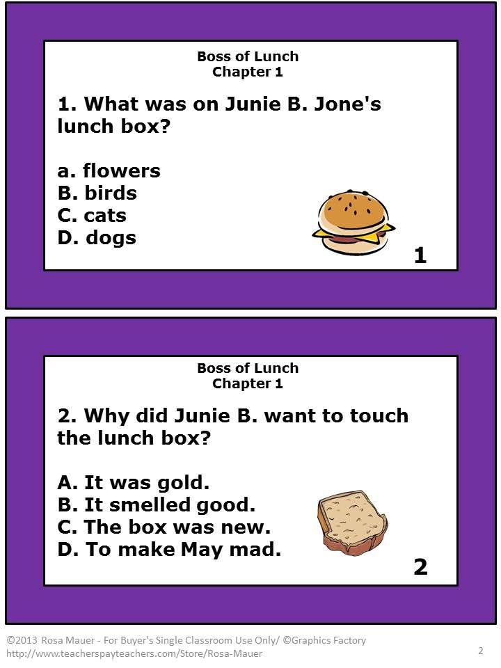 Junie B Jones Boss Of Lunch Reading Comprehension Barbara Park