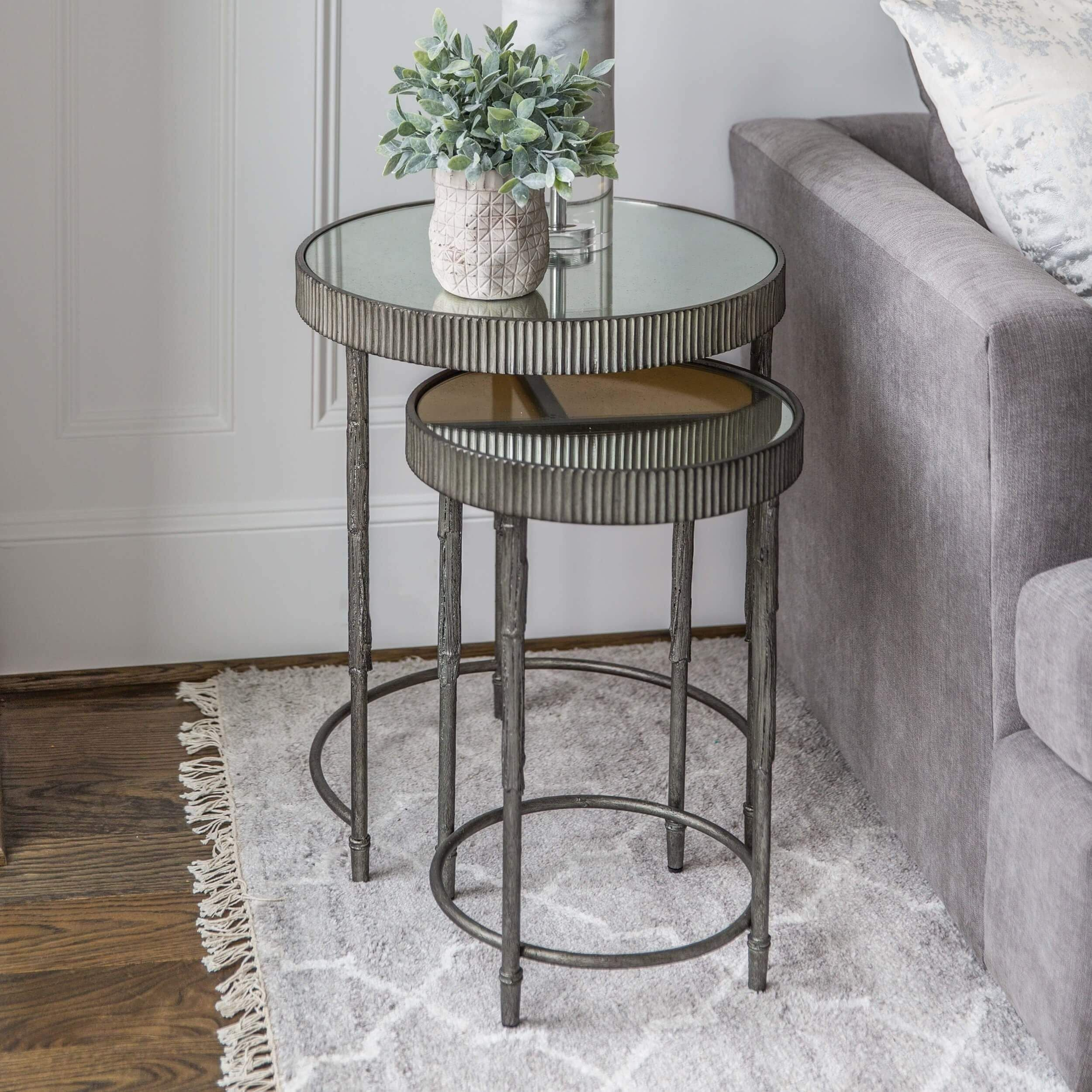 Accent Nesting Tables Silver Set Of 2 In 2021 Nesting Tables Living Room Nesting Tables Living Room Decor Neutral [ 2500 x 2500 Pixel ]