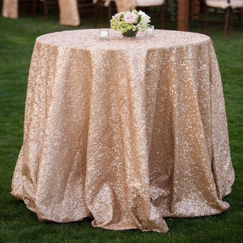 Champagne Blush Matt Sequins Tablecloth For Wedding Events By