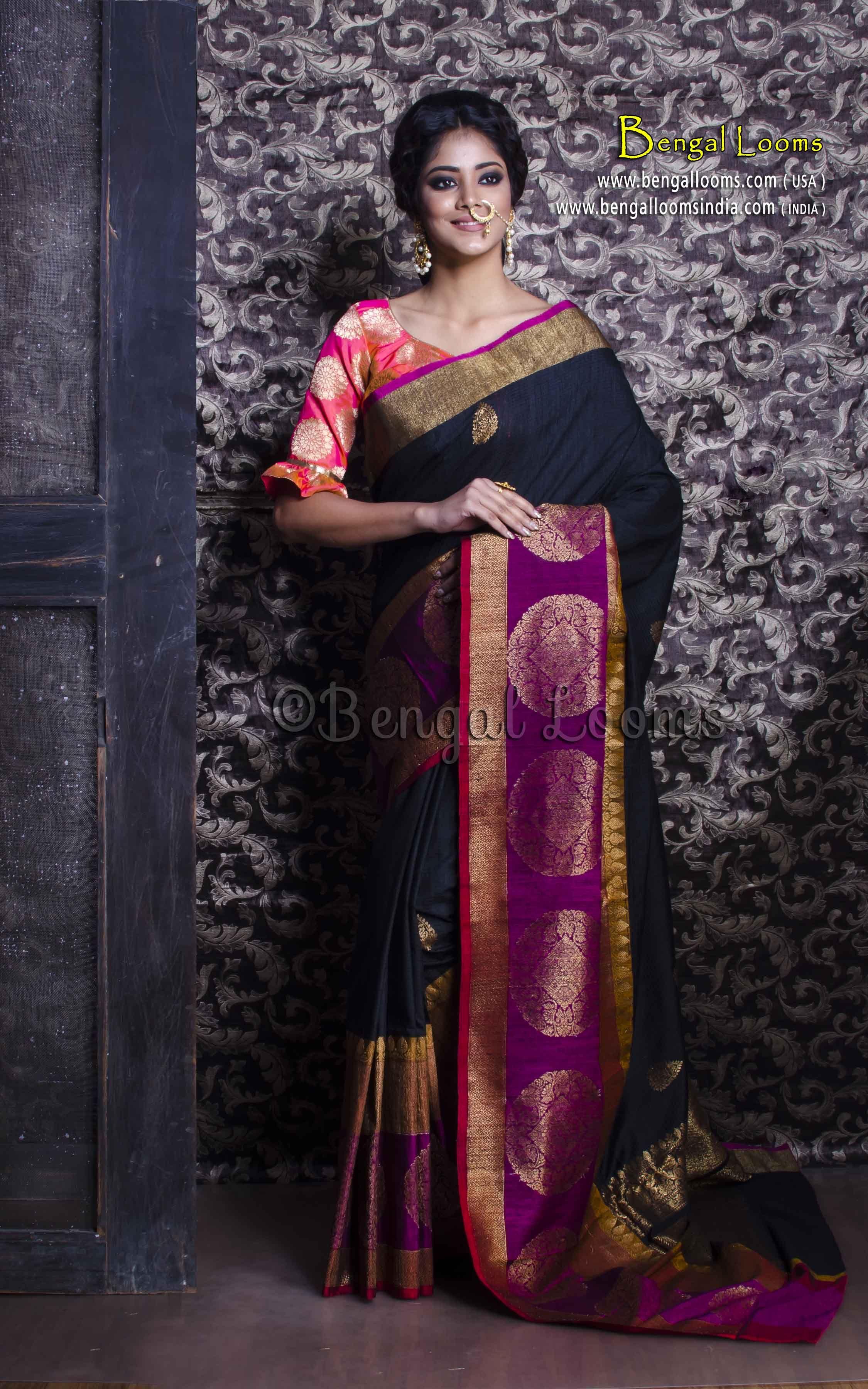 c47a9cf500 Pure Handloom Tussar Banarasi Saree in Black and Purple | Indian ...