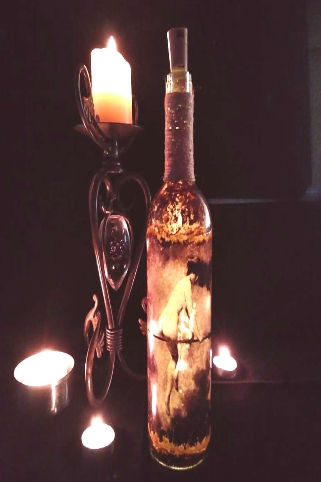 7 new antique effect hand decorated wine bottles please swipe to