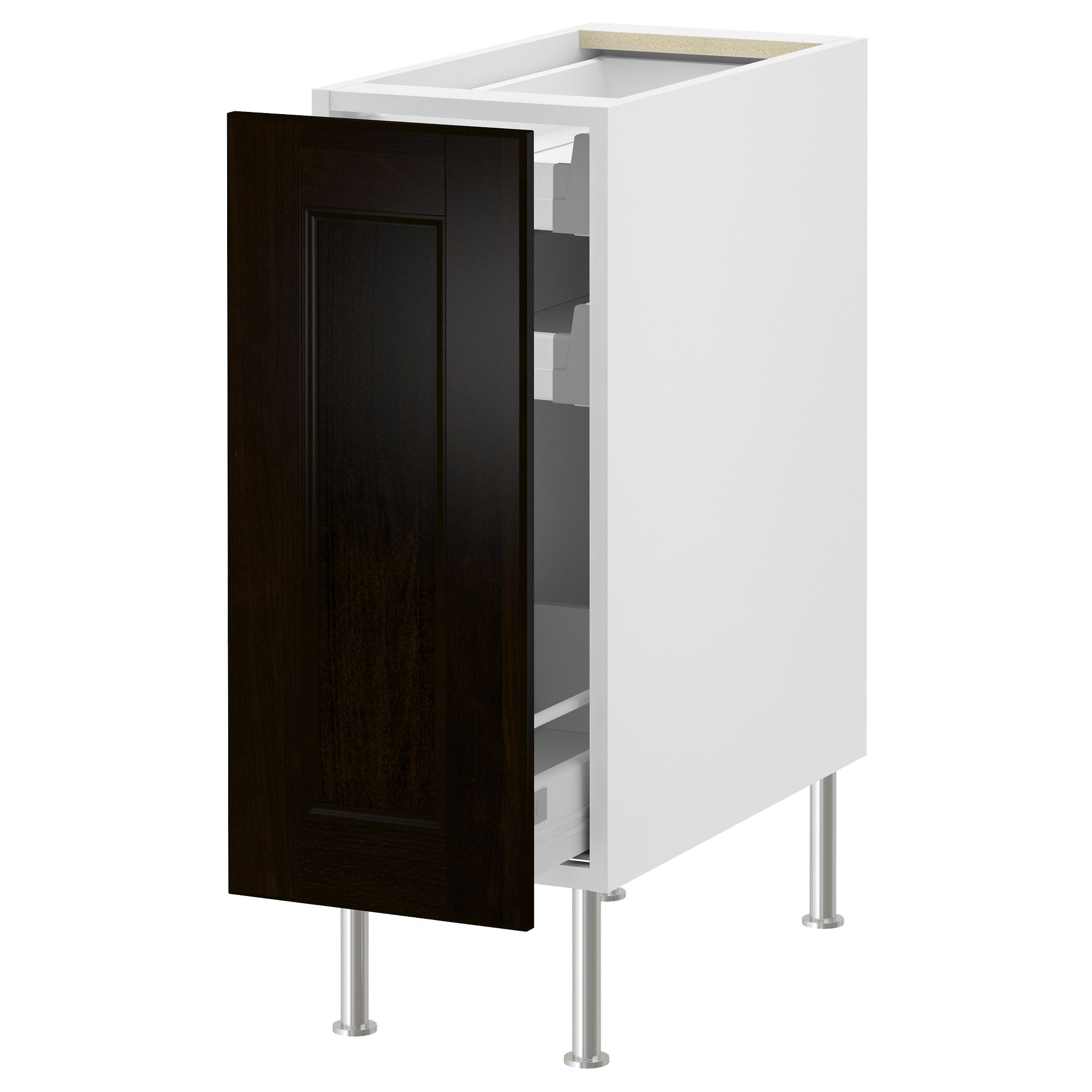 AKURUM Base Cabinet With Pull Out Storage   White, Ramsjö Black Brown,