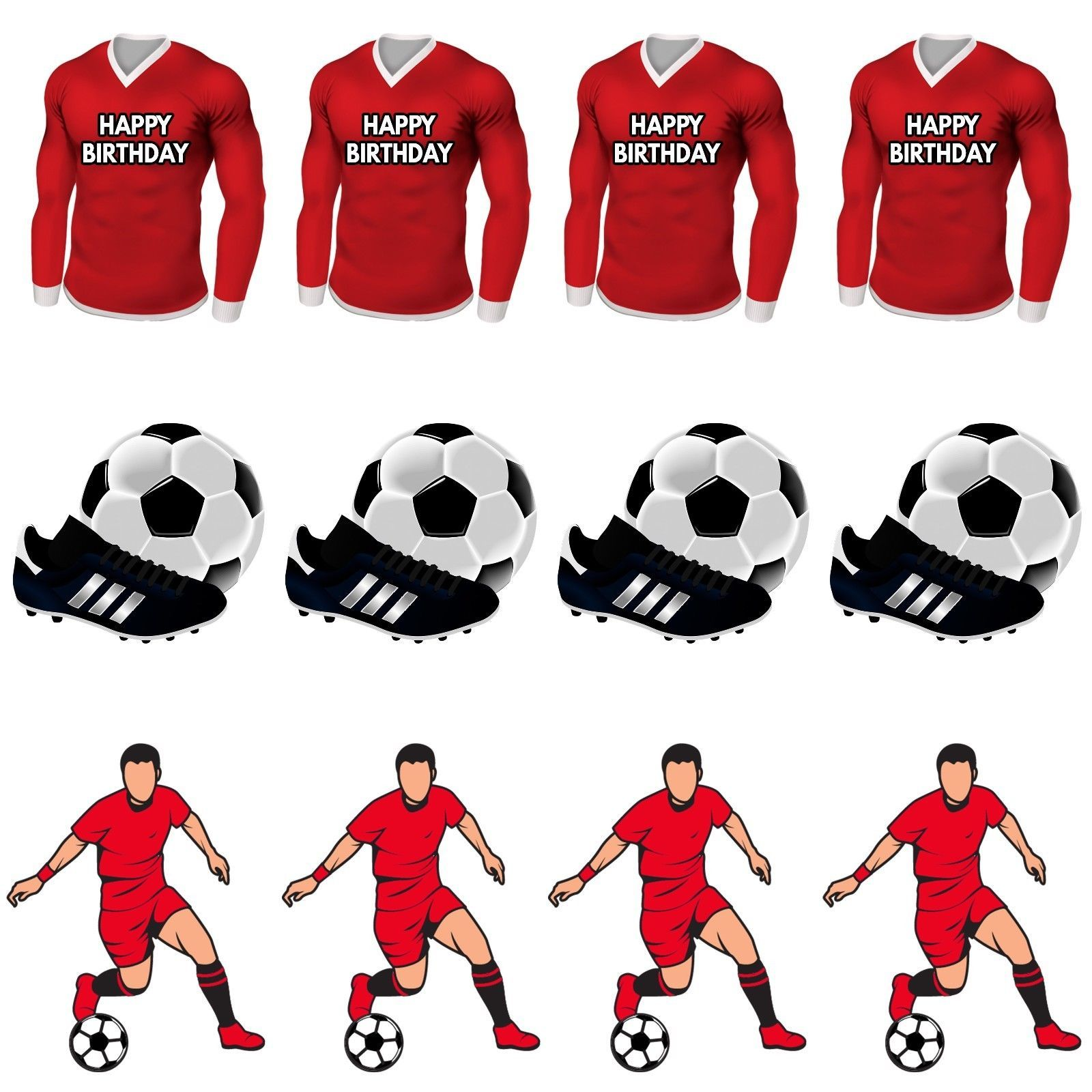 Precut Birthday Football Party Pack Cup Cake Toppers Decorations Red Shirt Kit Liverpool Cake Cake Toppers Football Party