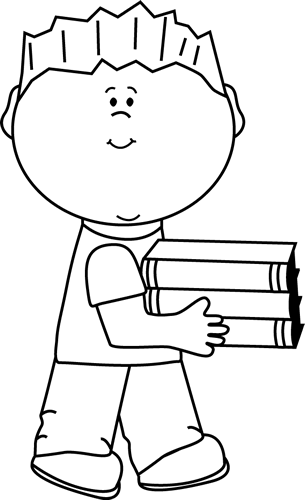 Black and White Little Boy Carrying a Stack of Books | Clip Art ...