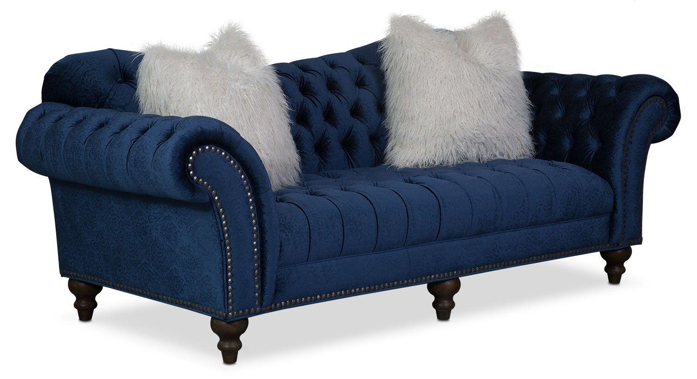 Living Room Furniture - Brittney Sofa - Navy