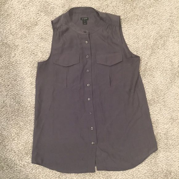 J. Crew Gray Button Up Top. Like new- J. Crew Gray Button Up Top. Size 6. Worn once. Looks really cute with a statement necklace. Love this top, but trying to downsize. J. Crew Tops Button Down Shirts
