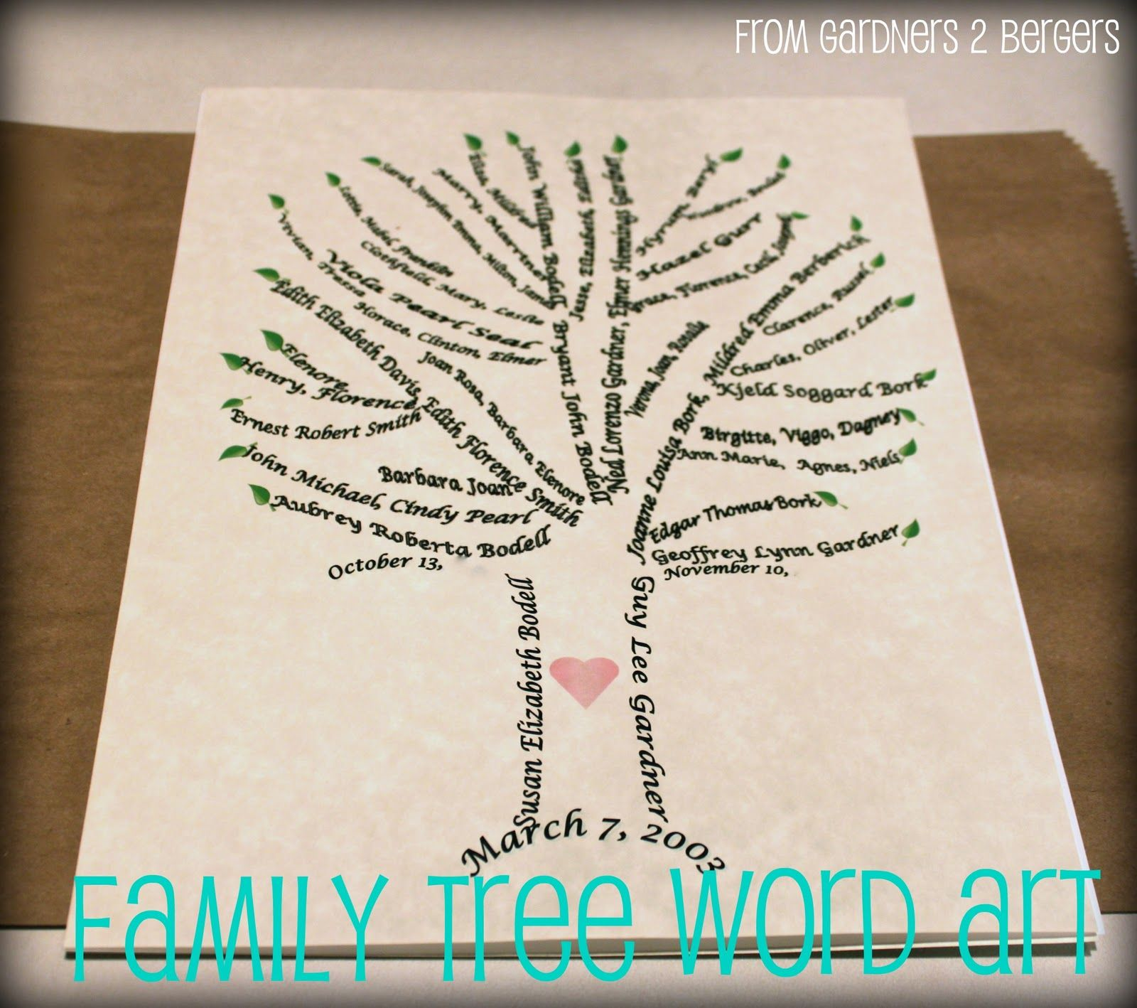 from Gardners 2 Bergers: Family Tree Word Art [Tutorial] This has ...